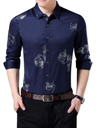 Picture of Men's Shirt Turn Down Collar Long Sleeve Floral Print Top - Size: 3XL