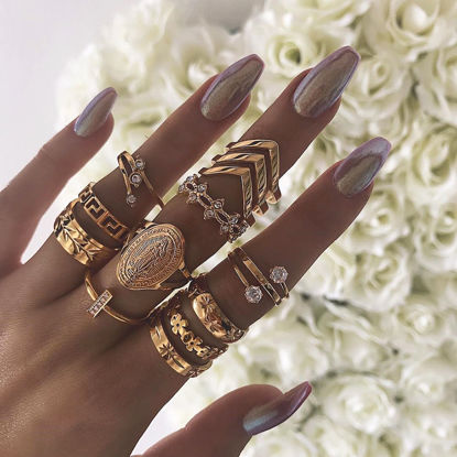 Picture of 13Pcs Women's Ring Set Geometric Pattern All Match Rings Accessory - Size: One Size