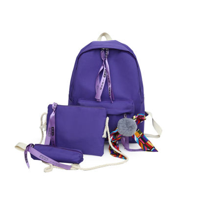 Picture of 3 Pieces Women's Backpack Set Pompon Large Capacity Casual Bags Set - Size: One Size