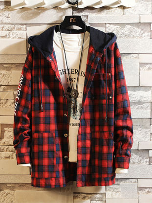 Picture of Men's Shirt Hooded Long Sleeve Plaid Top - Size: XL