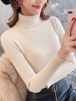 Picture of Women's Sweater Turtle Neck Long Sleeve Slim Solid Color Knitwear - Size: Free