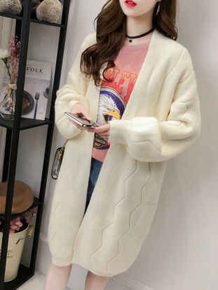 Picture of Women's Cardigan Fashion Loose Long Sleeve Solid Color Knitwear - Size: Free