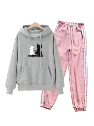 Picture of Women's 2Pcs Long Sleeve Pocket Hoodie Striped Casual Pants - Size: L