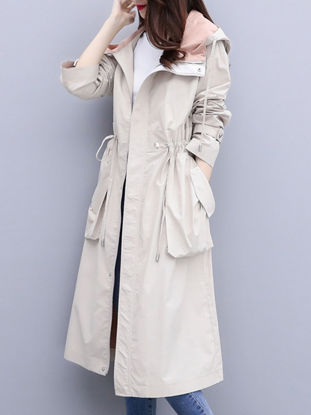 Picture of Women's Trench Coat Solid Color Pocket Zipper Outerwear - Size: L