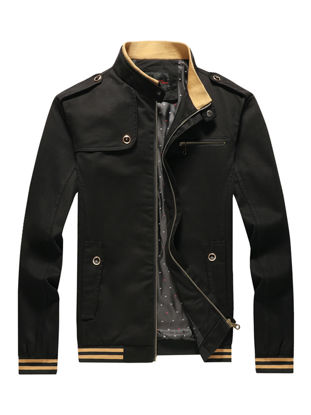 Picture of Men's Casual Jacket Stand Collar Long Sleeve Patchwork Pocket Zipper Jacket - Size: 4XL