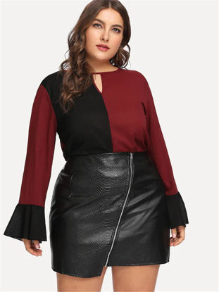 Picture of Women's Plus Size T Shirt O Neck Long Sleeve Patchwork Loose Fashion Top