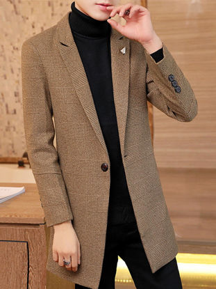 Picture of Men's Trench Coat Houndstooth Notched Collar Single Button Midi Outerwear - Size: M