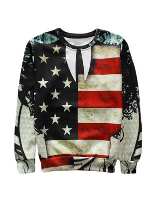 Picture of Casual Flag Print O Neck Long Sleeve Men's Sweatshirt - Size: L