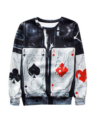 Picture of Nice Card Print Loose O Neck Men's Sweatshirt - Size: M