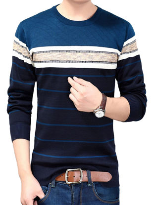 Picture of Men's Knitwear Cotton Blends O Neck Long Sleeve Stripe Lightweight Pullover - Size: XL