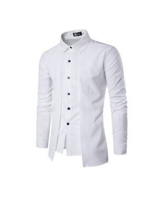 Picture of Men's Shirt Fashion Solid Color One Piece Layer Look Long Sleeve Shirt - Size: M