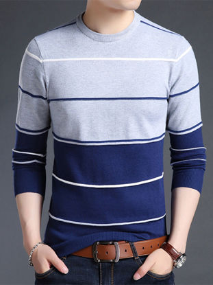 Picture of Men's Sweater O  Neck Long Sleeve Striped Color Block Casual Pullover - Size: XXL