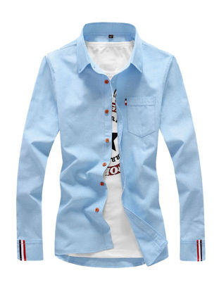 Picture of Men's Shirt Long Sleeve Cotton Blends Solid Color All Match Shirt - Size: 3XL