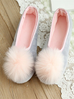 Picture of One Pair Women's Slippers Lovely Plush Ball decor Comfy Home Shoes - Size: 39-40