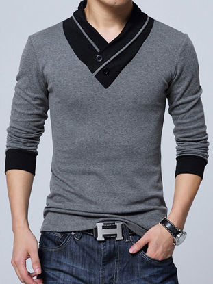 Picture of Men's Sweater V Neck Long Sleeve Patchwork Comfy All Match Pullover - Size: 3XL