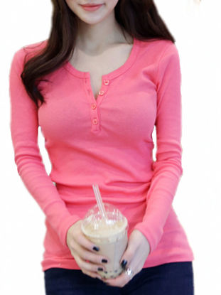 Picture of Women's T Shirt Long Sleeve Solid Stylish All Match Comfy Tops - Size: M