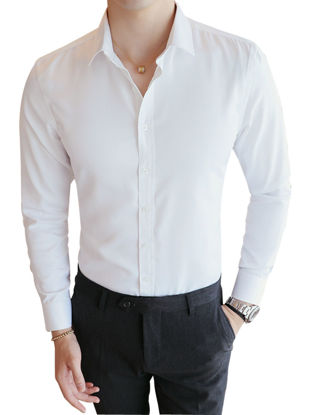 Picture of Men's Shirt Long Sleeve Solid Turn Down Collar Leisure Shirt - Size: L