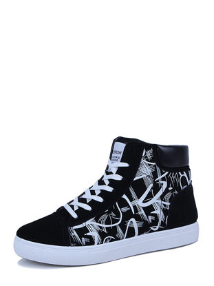 Picture of Men's AnkleBoots Casual Fashion Patchwork Printing Lacing Running Shoes - Size: 43