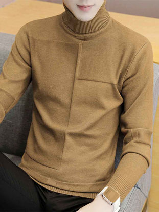 Picture of Men's Sweater Turtle Neck Long Sleeve Solid Color Casual Pullover - Size: L