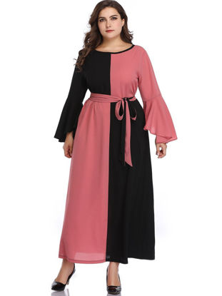 Picture of Women's Plus Size A Line Dress Color Block Patch Work Sashes Dress - Size: 5XL