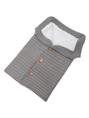 Picture of Baby's Sleeping Bag Pure Color Button Design Knitting Warm Sleeping Bag - Size: One Size