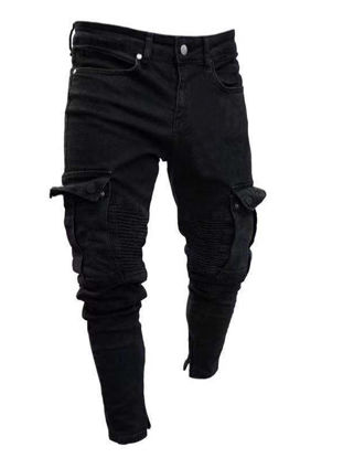Picture of Men's Jeans Frayed Decoration Solid Color Mid Waist Jeans - Size: L