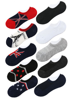 Picture of 10 Pairs Men's Invisible Socks Color Block Anti-Shedding Brief Design Socks - Size: Free
