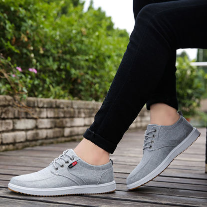 صورة Men's Sneakers Solid Color Breathable Low Cut Shoes - Size: 43