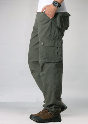 Picture of Men's Cargo Pants Solid Color All Match Zipper Trendy High Quality Classic Pants - Size: 42