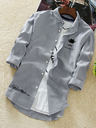 Picture of Men's Shirt Letter Printed Short Sleeve Casual Top - Size: L