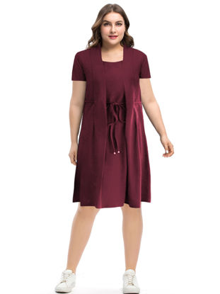 Picture of Women's Plus Size A Line Dress Solid Color Shorts Sleeve Waist Drawstring Dress - Size: 4XL