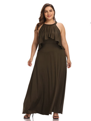 Picture of Women's Plus Size Dress Off Shoulder Sleeveless Solid Color Dress - Size: 4XL