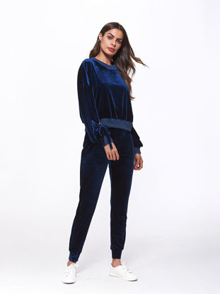 Picture of Women's 2Pcs O Neck Long Sleeve Sweatshirt Solid Color Skinny Pants - Size: XXL