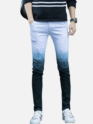 Picture of Men's Jeans Colorblock Fashion Pocket Mid Waisted Pants - Size: 34