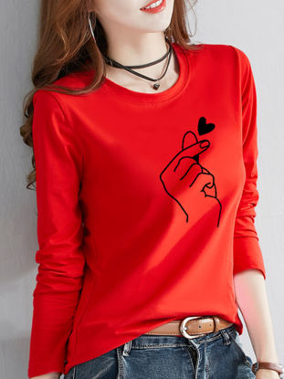 Picture of Women's T Shirt O Neck Floral Print Long Sleeve Fashion Top - Size: M