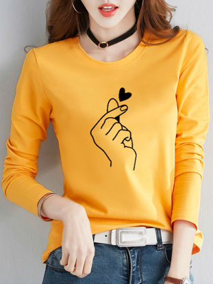 Picture of Women's T Shirt O Neck Floral Print Long Sleeve Fashion Top - Size: L