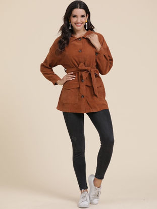 Picture of Women's Trench Coat Turn Down Collar Solid Color Button Coat - Size: L
