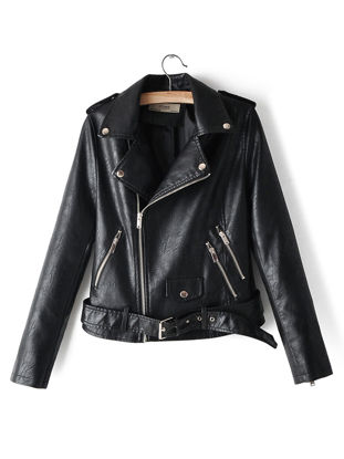 Picture of Women's Synthetic Leather Jacket Patchwork Zipper Pocket Turn Down Collar Jacket - Size: 3XL