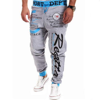 Picture of Top Fashion Drawstring Elastic Waist Print Casual Sports Men's Pants - Size: XXL