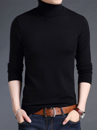 Picture of Men's Sweater Turtle Neck Long Sleeve Solid Color Extended Casual Pullover - Size: M