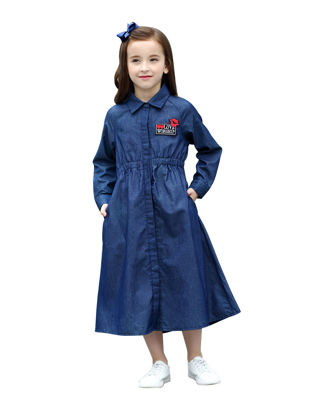 Picture of Girls Girl's Dress Turn Down Collar Front Button Denim Dress - Size: Reference Height:160cm