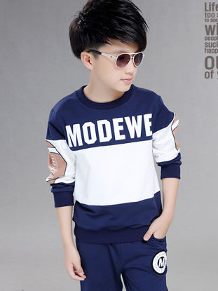 Picture of Toddler Boys 2 Pcs Boy's Pants Set Letter Pattern Sweatshirt And Pants Set - Size: Reference Height:140cm