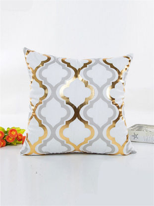 Picture of One Piece Living Room Sofa Cushion Cover Graceful Gilt Geometric Pillowcase - Size: 45*45(W*L)cm