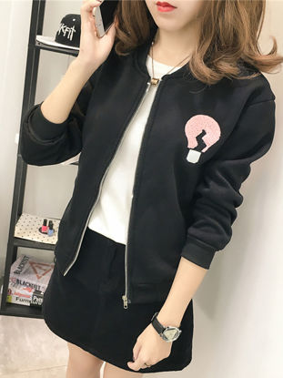 Picture of Women's Bomber Jacket Appliques Long Sleeve Warm Loose Casual Top - Size: L