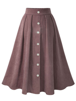 Picture of Women's A Line Skirt Elastic Waist Solid Color Single Breasted Midi Skirt - Size: Free