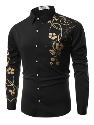 Picture of Men's Shirt Casual Fashion Floral Print All Match Shirt - Size: 3XL