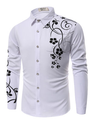 Picture of Men's Shirt Casual Fashion Floral Print All Match Shirt - Size: XL