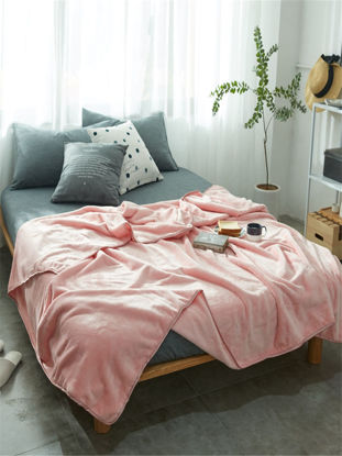 Picture of Blanket Fashion Simple Solid Pink Super Soft Flannel  Soogan - Size: 200*230(W*L)cm