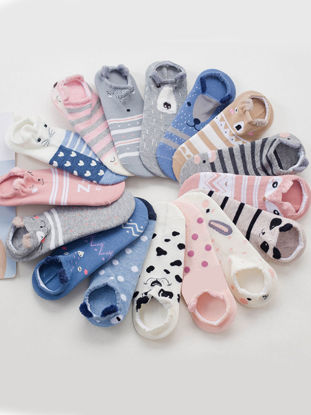 Picture of Women's 10 Pairs Sneaker Socks Cute Animal Cartoon Pattern Casual Ankle Socks - Size: One Size