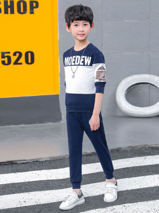Picture of Toddler Boys 2Pcs Boy's Set Patchwork Design Letter Pattern Top & Solid Color Pants Set - Size: Reference Height:160cm